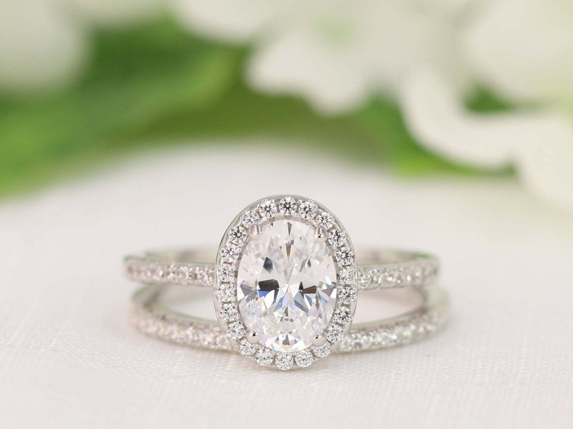 20 Carat Halo Wedding Ring Set Oval Cut Ring Halo