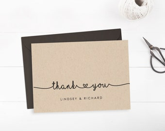 Printable wedding thank you card template, Editable text and color, Rustic thank you card, INSTANT DOWNLOAD, Edit in Word or Pages