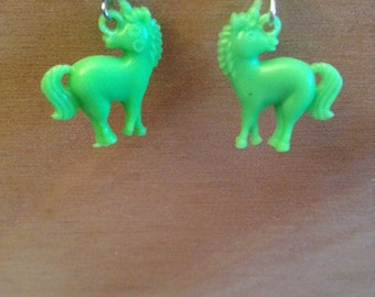 Green Unicorn Plastic Charm Dangle Earrings