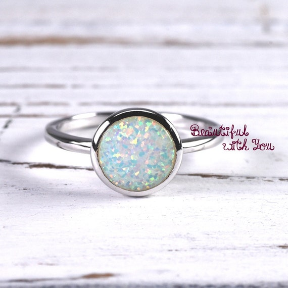 white opal fashion engagement ring bezel by beautifulwithyou