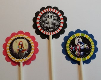 Set of 12 Tim Burton's Nightmare Before Christmas Themed Cupcake Toppers