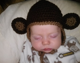 Crochet Baby Monkey Hat with Ear Flaps