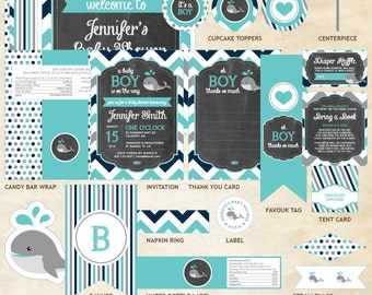 Whale Baby Shower Decor Package, Whale Decor Package, Whale, Teal, Gray, Navy Blue, Chevron | Printable