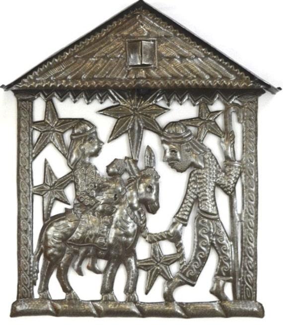 """Nativity, Epiphany, Flight to Egypt  Recycled Metal Art from Haiti, 12"""" x 14"""""""