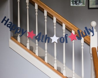 Happy 4th of July banner, red white and blue, patriotic banner