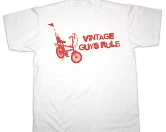 Vintage Guys Rule Chopper Bike T-Shirt. All Sizes. 100% Cotton