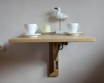 Primitive small space saving table wooden wall by for Small drop down desk