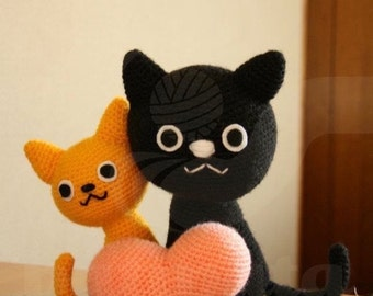 cats with a heart - 20cm amigurumi