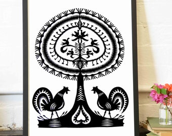 Archival Print Tree of Life series Leluja I, A4 - Tree of Life, birds, rooster, Polish Folk art, Traditional Paper Cutting