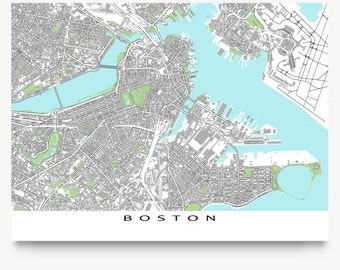 Boston Map Print, Boston Massachusetts, City Street Art, Buildings