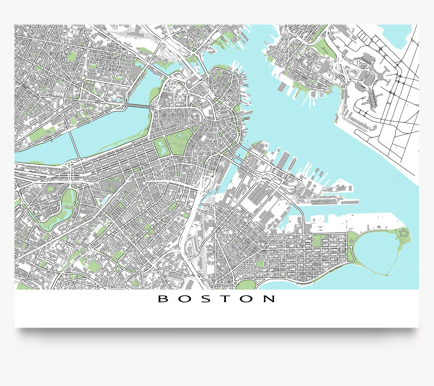 It's just a graphic of Adaptable Printable Map of Boston