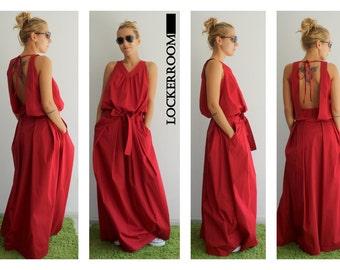Maxi dress /Summer dress /Plus size dress /Red dress / Wedding long dress/Sleeveless dress / Casual dress/ Loose dress