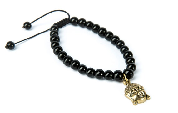 Black Onyx Gemstone Bracelet Buddha Charm Macrame Adjustable Wrap Bracelet Charm Bracelet Yoga Jewelry Unisex + Giftbag + Free UK Delivery