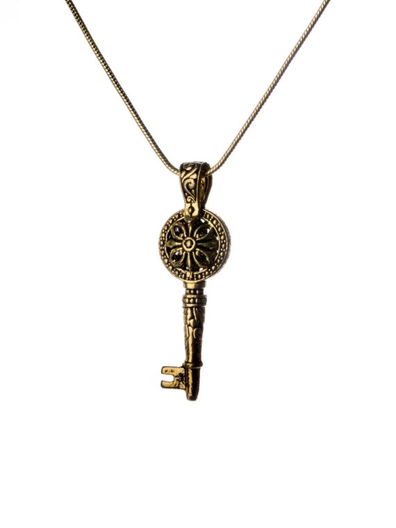 Key Pendant -Brass Necklace Boho jewellery Tribal Jewellery  Handmade Gift Ideas Free UK delivery Gift Boxed + Gift Bag BP4