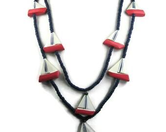 Vintage Sailboat Necklace