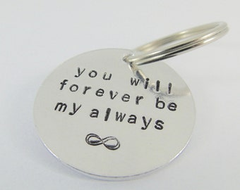 Keyring Love Token for Boyfriend Gift Girlfriend Gift Personalised Hand Stamped Anniversary Gift