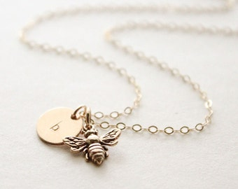 Honey Bee necklace / Silver Honeybee Necklace / Personalized Tiny Initial Necklace / Gold Bee Necklace / BumbleBee Necklace
