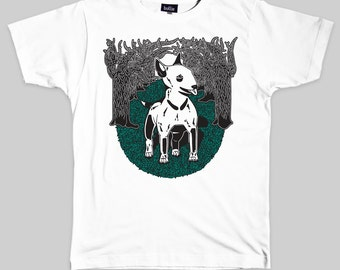 40% OFF! English Bull Terrier Organic T-Shirt Eco-Friendly T Shirt Gift - Dog T-Shirt Screen Printed & Handmade by Bullie Printmakers