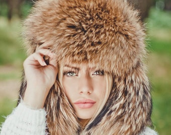Real raccoon fur hat for women Russian ushanka hat Fur trapper hat Luxury Christmas gift for wife