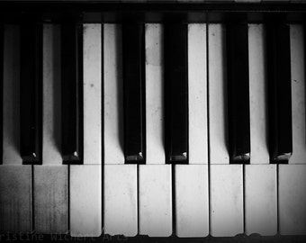 "Keys (B&W) // 7x5"" Photo Print // Art Photography // Black and White Photo // Piano Photo // Music Art // Studio or Home Decor"