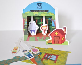 Paper Theatre. The Little Red Riding Hood. Educative Toy. Kids Craft DIY Kit.