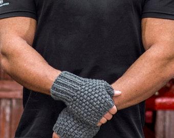 Mens Fingerless gloves, Grey, Grey gloves, Italian Cashmere, Gray, Silk, Aran Weight, ,Soft, Soft, Classic Gloves, Luxurious, Perfect  Gift