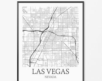 Las Vegas Map Art Print, Las Vegas Poster Map of Las Vegas Decor, Las Vegas City Map Art, Las Vegas Gift, Las Vegas Nevada Art Poster