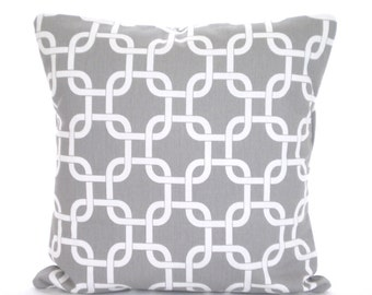 Gray Pillow Covers, Decorative Throw Pillows, Cushion Covers, Grey White Chain Link Gotcha Couch Pillows, Euro Sham, One or More All Sizes
