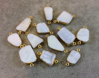 Gold Plated Light Blue/White Peruvian Opal Freeform Shape Slice Connectors - Measuring 13mm x 20-25mm, Approx. - Sold Individually