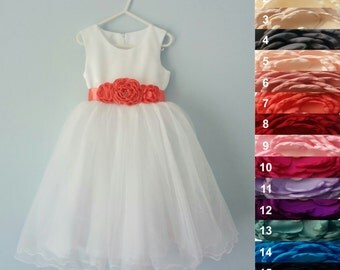Junior bridesmaid dress, First communion dress, Wedding Flower Girl Dress, First birthday Dress, Toddler Kids Girls Dress, 16 sash colors