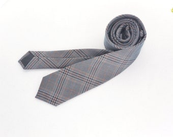 Plaid Tie, Light Gray and Blue Plaid Tie, Vintage Plaid Tie, Winter Necktie, Woven like Plaid Tie, Silver Blue Plaid Tie