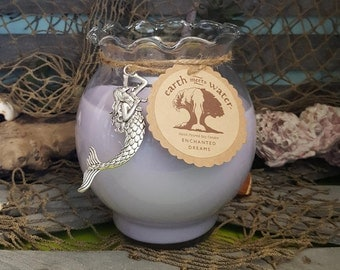 Enchanted Dreams - 24 oz Soy Candle - Fishbowl Candle - Hand Poured Soy Candle - Mermaid Decor - Beach Decor