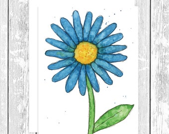 "NOTECARD: Whimsical Big Blue Daisy; Blue, Yellow, Green Flower 4.25"" x 5.5"" A2 Greeting Card, Gift for Her, Gift for Friend, Flower Lover"