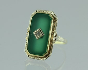 Art Deco Chrysoprase and Diamond Ring. 14k White and Yellow Gold Setting.  Antique / Vintage.