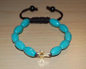 Turquoise Stone Bracelet,Golden Cross Charm,Shamballa Style Pretty Bracelet,Easy Fits,Man,Woman,Gift