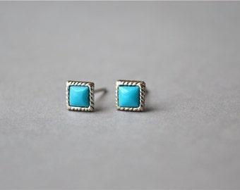 Mini kallaite square cube stud earrings, 925 sterling silver stud earrings (D389)