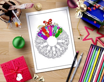 Adult Christmas Coloring Page Download Flip Flop Wreath Doodle Art Printable Women Gift