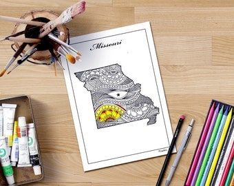 Missouri State Map Adult Coloring Page Map Art Printable Coloring Pages Doodle Map
