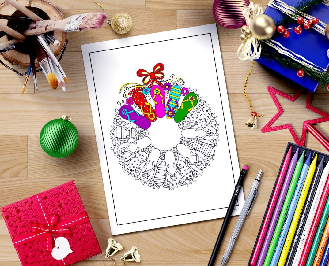 christmas coloring page download flip flop wreath