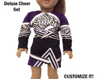 18 Inch Doll Cheer Set - Doll Cheerleader Custom - Birthday Gift - DELUXE Outfit Customized FITS American Girl Dolls and most 18 inch dolls