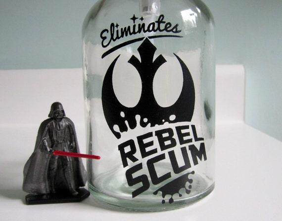 rebel scum glass soap dispenser star wars bathroom decor. Black Bedroom Furniture Sets. Home Design Ideas