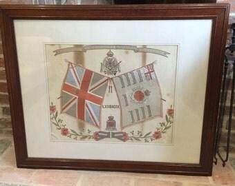 "Vintage British Army Framed Embroidery ""The Duke of Edinburgh's Wiltshire Regiment"""