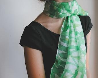 Green Silk fashion Scarf - handpainted scarf