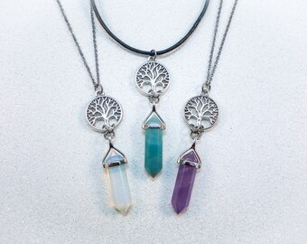 Choose Your Crystal - Tree Of Life Crystal Necklace OR Choker