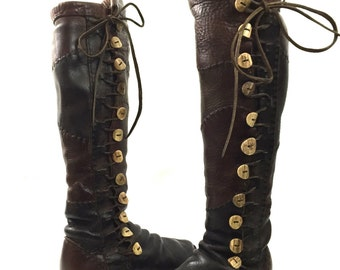 Vintage Handmade Brown Buffalo Leather Stitched Renaissance Moccasin Boots