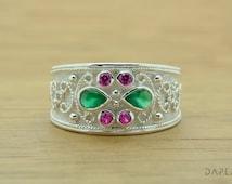 Medieval Ring, Byzantine Ring, Etruscan Ring, Greek Jewelry, 925 STERLING SILVER Ring, Rubies, Emeralds, CZ, Elegant Ring, Modern Ring