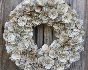 "Round Wreath Book Page Paper Flower Rolled Rose Wreath Decoration, Door Hanger - Wedding Decor, Home Decor or Gift 20cm (8"")"