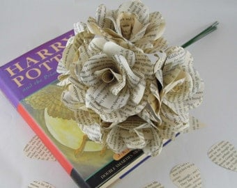 6 x Harry Potter Paper Roses, Book Page Paper Flower Roses, Handmade Paper Roses, Harry Potter Wedding Flowers