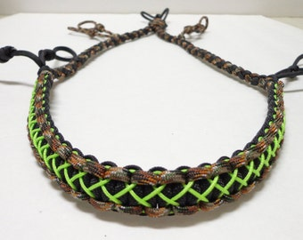 Custom Paracord Call Lanyard Camo Black and Neon Green Stitched - Duck/Goose