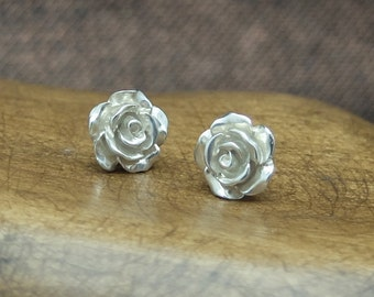 Stud Earrings 'Roses' Silver, Silver Ear Studs, Flower Jewelry, Blossom, Floral